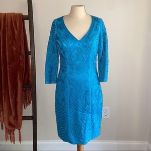 Sue Wong   Embroidered Midi 3/4 Sleeve Dress